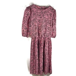 Vintage Jenny Pink & black Rose 80's Era Dress GUC